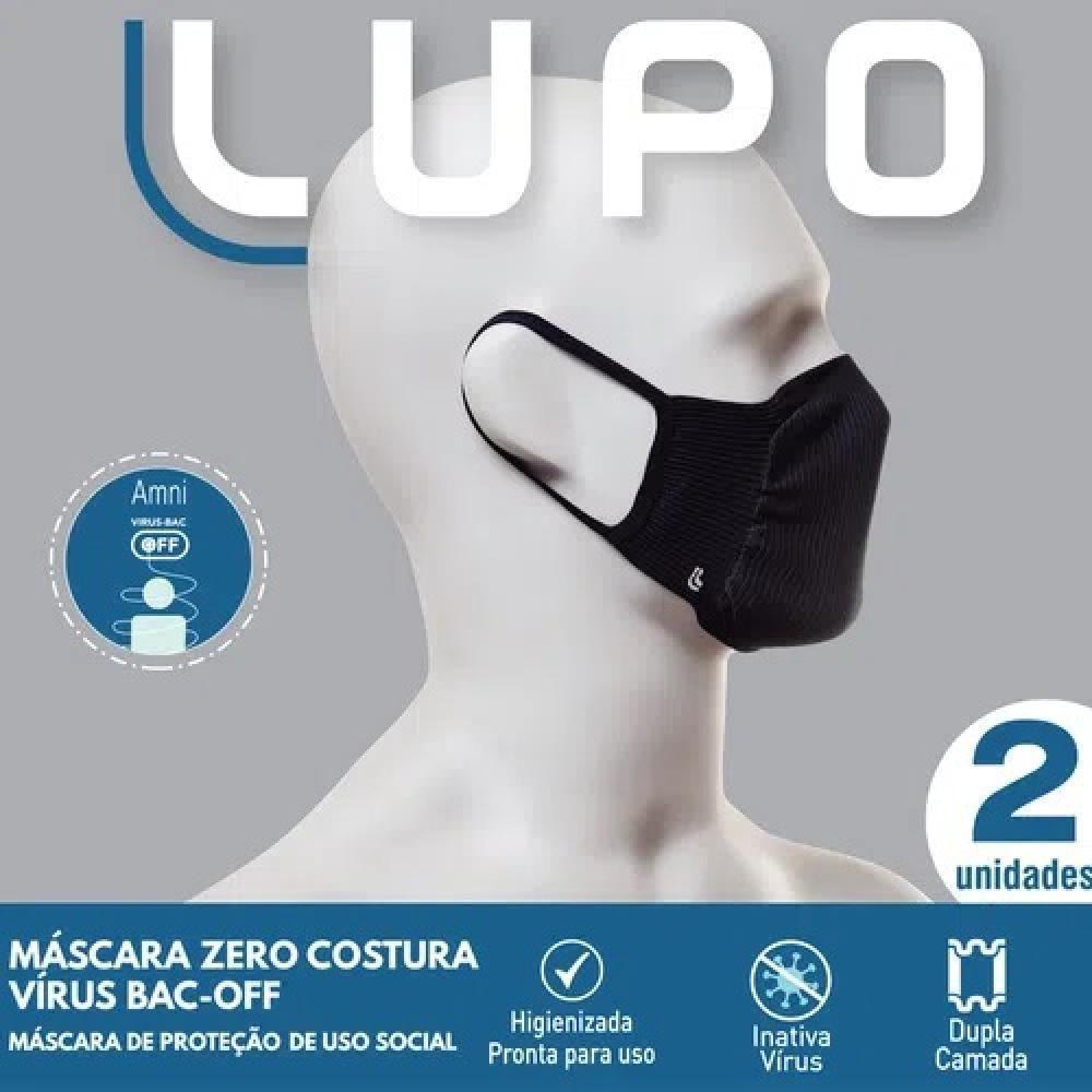 Máscara Fit Lupo Protetora Lavável Preta 2 Unidades