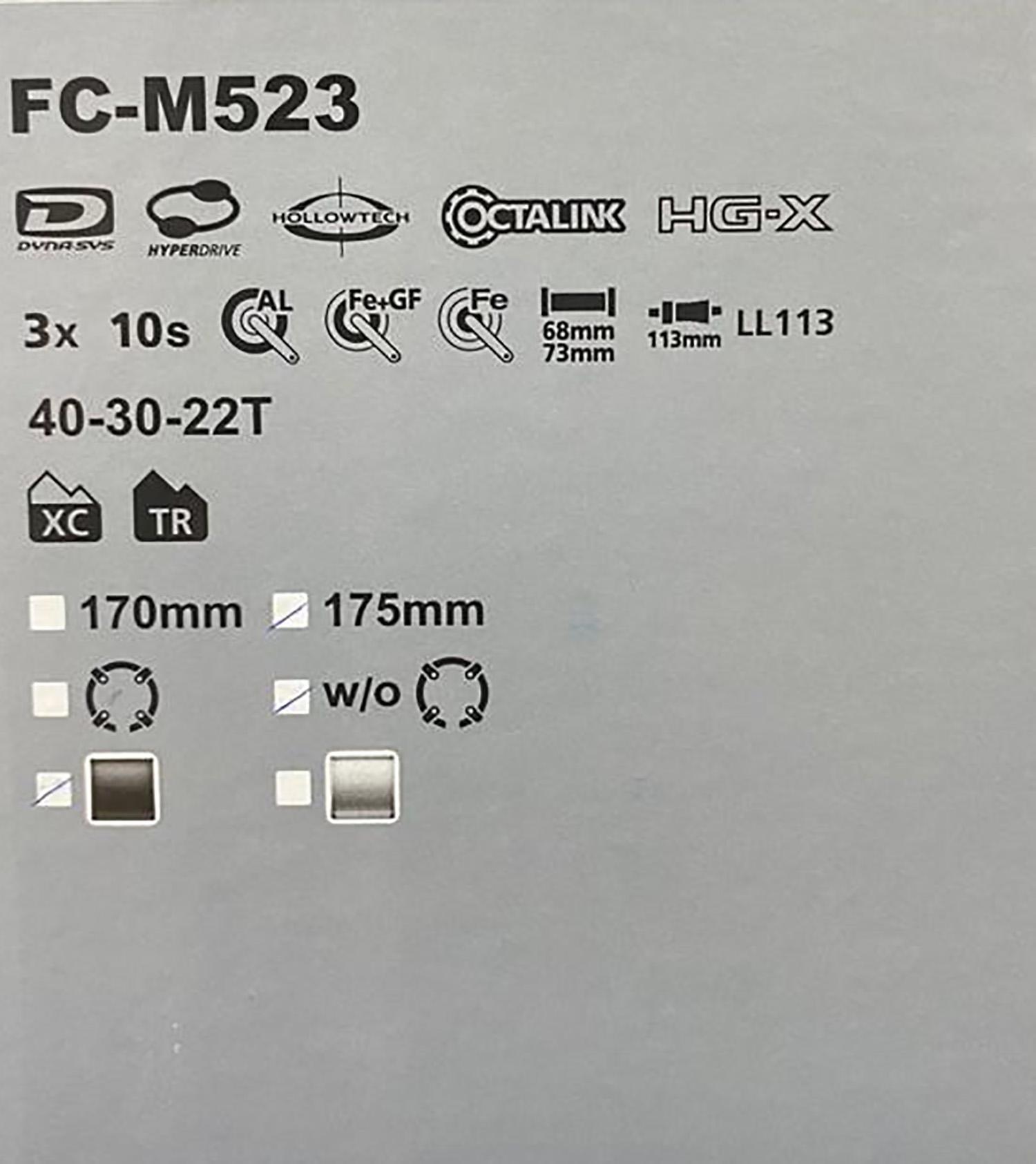 Pedivela Deore FC-M523 40-30-22Dentes  175mm 10v Preto - Shimano