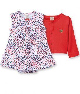 Conjunto Body  vestido com casaqueto Pingo Lelê Onça Vermelho