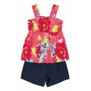 Conjunto Bata e Shorts Hello Kitty Floral Goiaba/Marinho