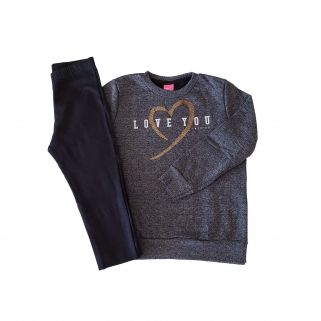 Conjunto Blusa Moletom e Legging Molecotto Love You Mouline/Preto