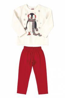 Conjunto Blusão e Calça  em moletom  Bee Loop Pinguim Off White/Vermelho