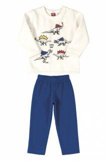 Conjunto Blusão e Calça em Moletom com felpa  Bee Loop Super Dino Off White/Azul