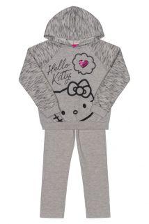 Conjunto Blusão e calça em  moletom e Hello Kitty Mescla
