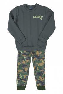 Conjunto Blusão e Calça Moletom Quimby Skate Verde Camuflado