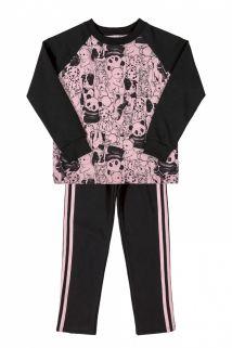 Conjunto blusão em moletom e legging em molecotton Quimby Panda rosa/preto