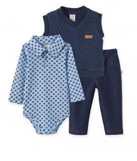 Conjunto Body Gola Polo Suedine, Calça  Cotton Jeans e Colete Metalassê Pelo Pingo Lelê  Flocos de Neve Azul