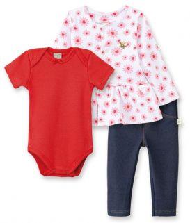 Conjunto Body manga curta, Calça Cotton Jeans e Casaco Pingo Lelê Vermelho Margarida