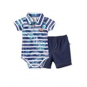 Conjunto Body manga curta gola polo com short Cotton Jeans Pingo Lelê Califórnia surf