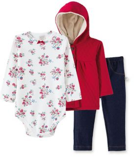 Conjunto Body manga longa, Calça Cotton jeans e Casaco  Metalassê com capuz Pingo Lelê Floral Bordô