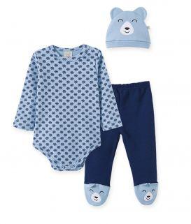 Conjunto Body manga longa, Calça e touca Pingo Lelê Flocos de Neve Azul
