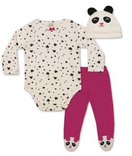 Conjunto Body manga longa, Calça e touca Pingo Lelê  Pink/off white Panda / Tamanho P