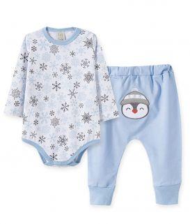 Conjunto body manga longa com calça saruel  Pingo Lelê  Flocos de Neve  Pinguim Azul