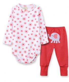 Conjunto Body manga longa e Calça  Pingo Lelê  Elefantinho Vermelho