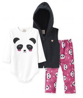Conjunto Body Suedine manga longa, Calça Malha Térmica e Colete  Soft Pelo Pingo Lelê  Panda Rosa/Preto
