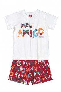 Conjunto Camiseta e Bermuda Moletinho Bee Loop Meu Amigo Branco/Vermelho