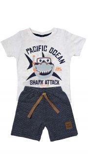 Conjunto Camiseta e Bermuda Moletom  Ecológico TMX  Tubarão  Mescla /Tamanho 1