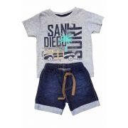 Conjunto Camiseta e Bermuda Moletom Jeans TMX  San Diego Mescla