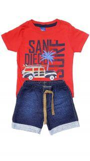 Conjunto Camiseta e Bermuda Moletom Jeans TMX  San Diego Vermelho