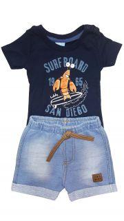 Conjunto Camiseta e Bermuda Moletom Jeans  TMX  Surf Board Marinho / Tamanho P
