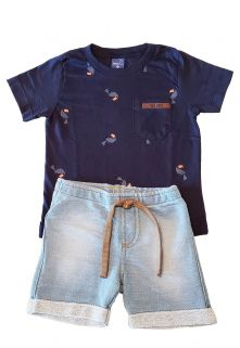 Conjunto Camiseta e Bermuda Moletom Jeans TMX  Tucanos Marinho / Tamanho 3