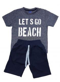 Conjunto Camiseta e Bermuda Moletom  TMX  Lets Go Marinho - TAMANHO 6