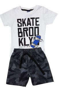 Conjunto Camiseta e Bermuda Moletom  TMX  Skate Branco Camuflado / Tamanho 1