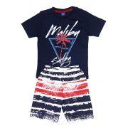 Conjunto Camiseta e Bermuda Tactel TMX Malibu Marinho - TAMANHO 8
