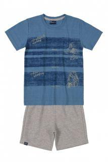Conjunto Camiseta em flamê e Bermuda em moletinho Quimby Azul/Mescla