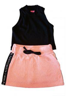 Conjunto Cropped Ribana e Saia-Shorts Fleece Reciclato TMX  Laranja Neon / Tamanho 10
