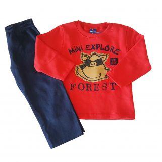 Conjunto Infantil Blusa Moletom e Calça Moletom  TMX Forest/vermelho /Tamanho 1
