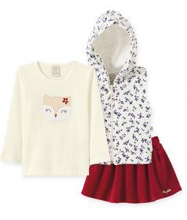 Conjunto Infantil Camiseta Suedine manga longa, Saia Plush e Colete  Metalassê Pingo Lelê  Coruja Floral