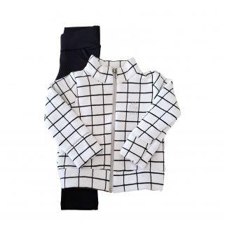 Conjunto  Infantil Jaqueta Matelassê e Calça Molecotton TMX  Xadrez Branco - Tamanho 6