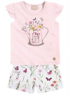 Conjunto Infantil Milon Feminino Regador Rosa  / Tamanho 1