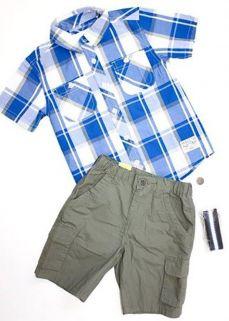 Conjunto Infantil Milon Masculino com cinto xadrez Azul/Cinza  / Tamanho P