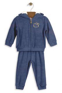 Conjunto Jaqueta com Capuz e Calça Hello Kitty Baby em plush Azul