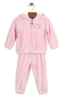 Conjunto Jaqueta com Capuz e Calça Hello Kitty Baby em plush Rosa