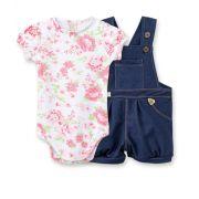 Conjunto Jardineira cotton Jeans e body  manga curta balonê Pingo Lelê Floral