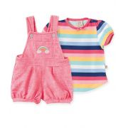 Conjunto Jardineira Malha Confort e Camiseta  manga curta Pingo Arco-Íris