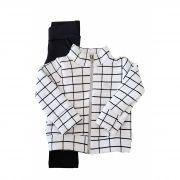 Conjunto  Primeiros Passos Jaqueta Matelassê e Calça Molecotton TMX  Xadrez Branco