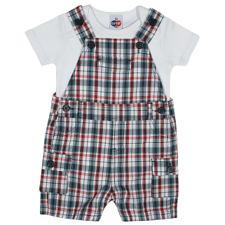 Jardineira Tip Top Xadrez Toddler com Camiseta