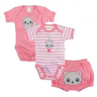Kit 2 Bodies Best Club e Short Gatinha Rosa
