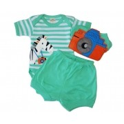 Kit Body Best Club, Short e babador Zebrinha Verde