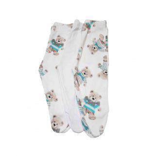 Kit calça Coquelicot 3 peças com pé Ursinho  Azul / Tamanho M
