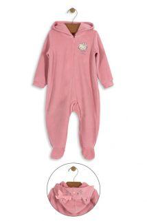 Macacão Hello Kitty Baby em plush com capuz e zíper Rosa