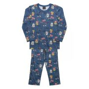 Pijama Blusa e calça Quimby Cinema Azul