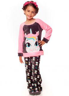 Pijama blusa Manga longa e Calça  Puket Soft Unicórnio Rosa/Chumbo