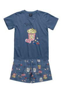 Pijama camiseta e bermuda Quimby Cinema Azul - Tamanho 4