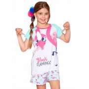 Pijama Curto blusa e shorts  Puket  Viscose Flamingo