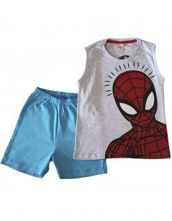 Pijama curto regata Infantil  Evanilda Marvel Spiderman Mescla/Azul